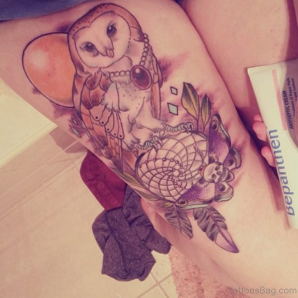 Marvelous Owl Tattoo On Thigh