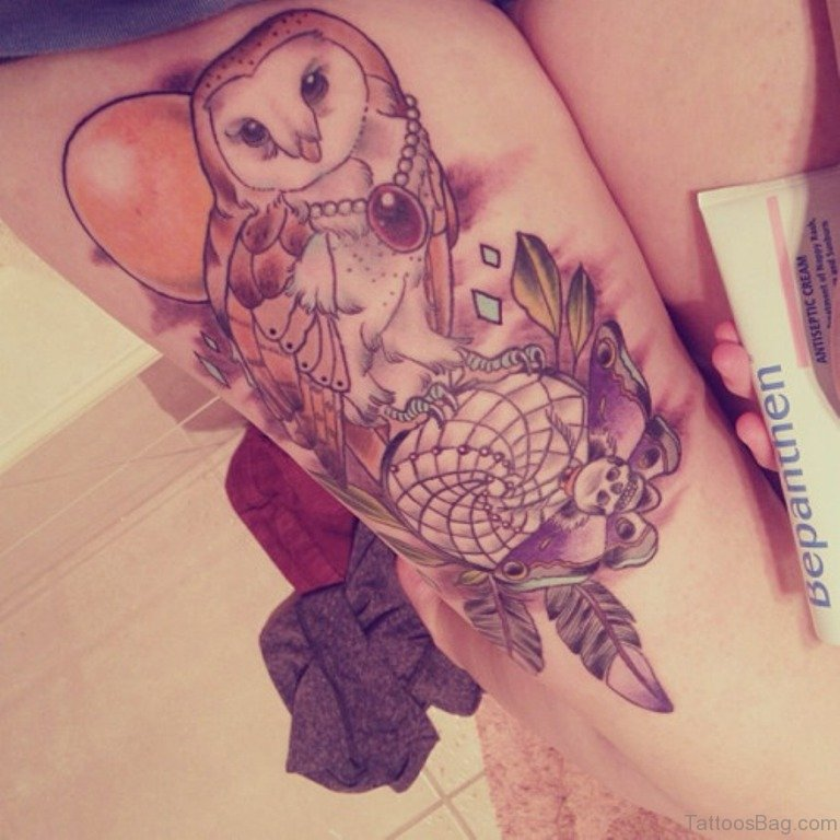50 Lovable Owl Tattoo On Thigh