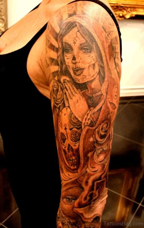 Mary And Skull Shoulder Tattoo