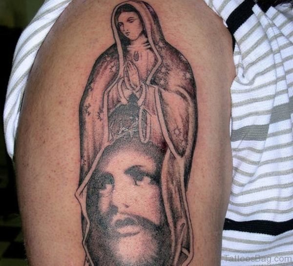 Mary And Jesus Shoulder Tattoo Design