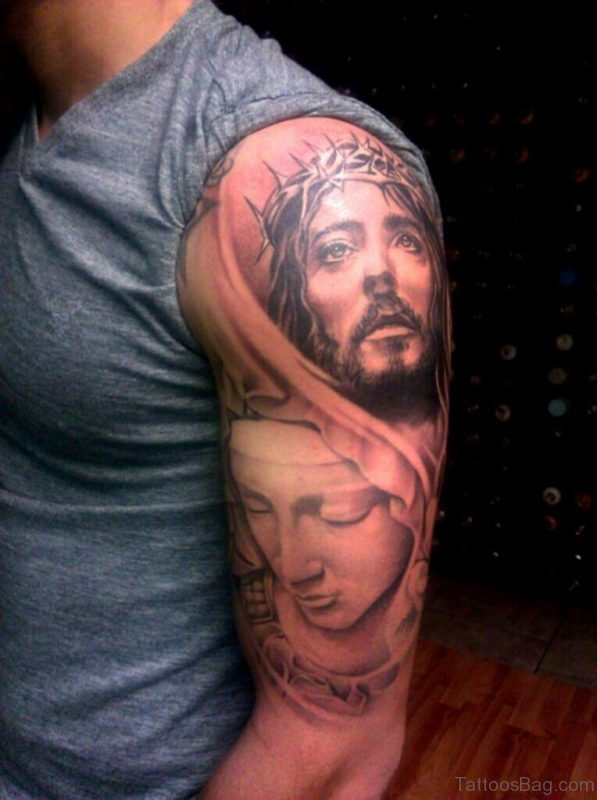 Mary And Jesus Tattoo Design