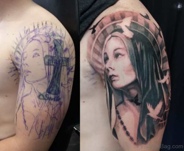 Mary Shoulder Tattoo