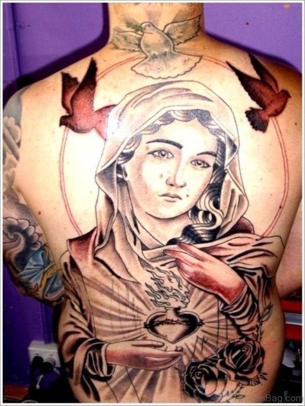 Mary Tattoo On Full Back