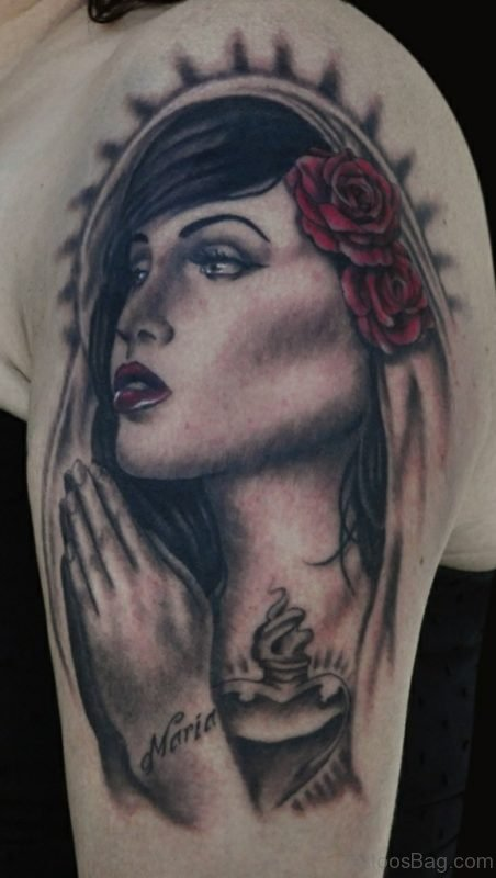 Mary Tattoo On Left Shoulder