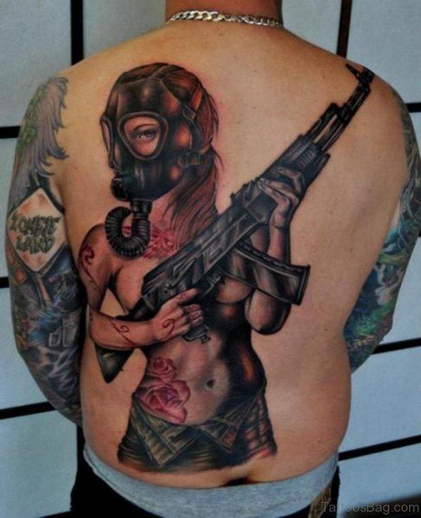 Mask Girl Tattoo On Back