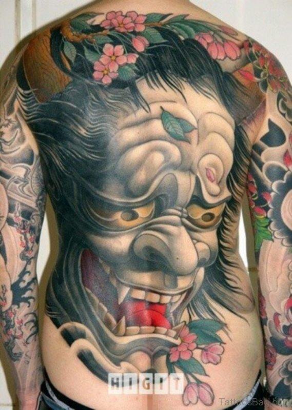Mask Tattoo On Back