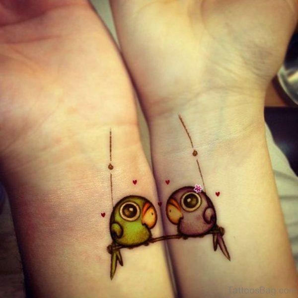 Matching Birds Tattoo On Wrist
