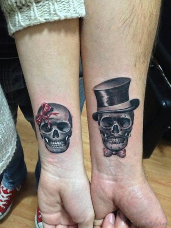 Matching Skull Tattoo On Wrist