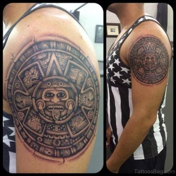 Maya Calendar Shoulder Tattoo
