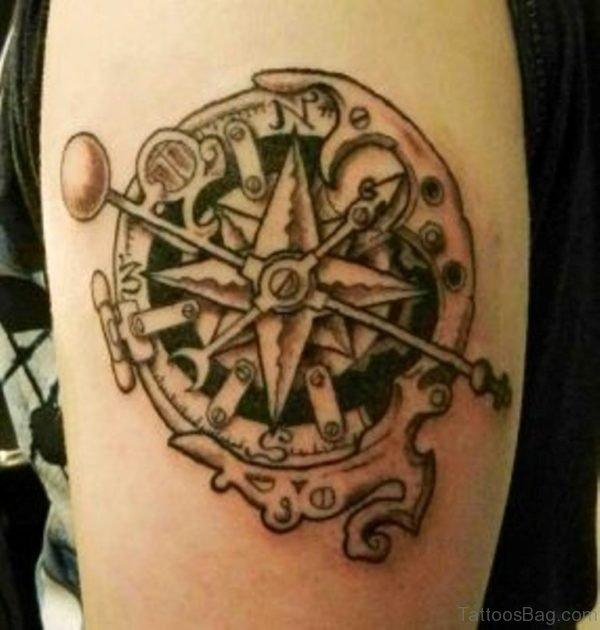 Mechanical Compass Tattoo