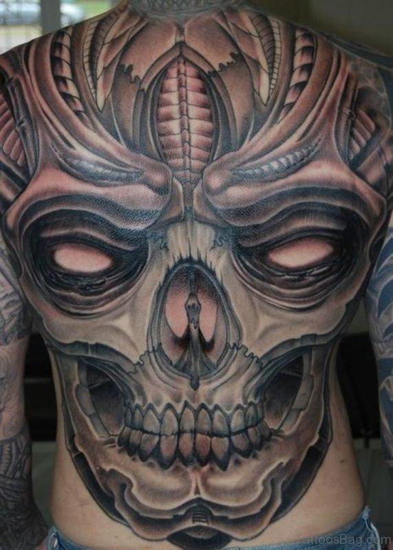 Mechanical Skull Tattoo On Back