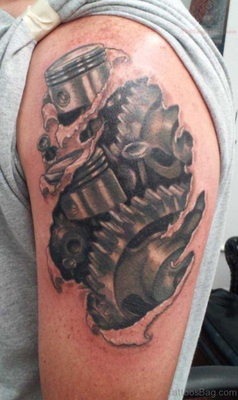 Mechanical Tattoo Design On Shoulder