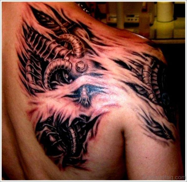 Mechanical Tattoo On Back