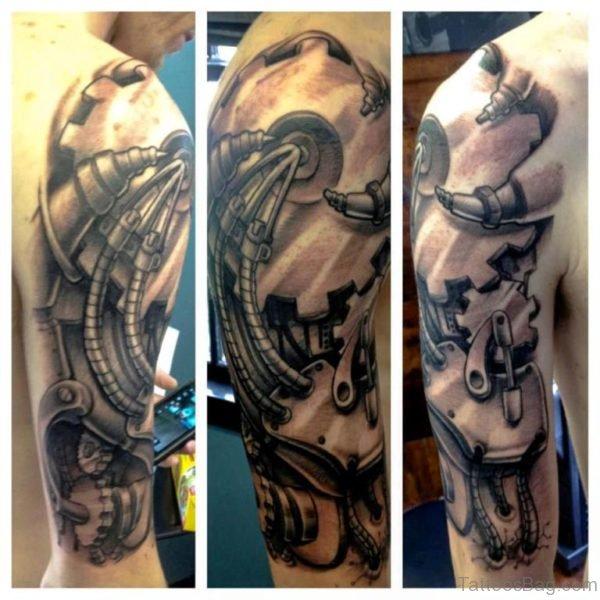 Mechanical Tattoo On Half Sleeve