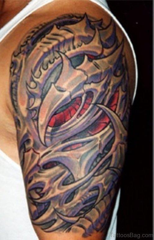 Mechanical Tattoo On Shoulder Image