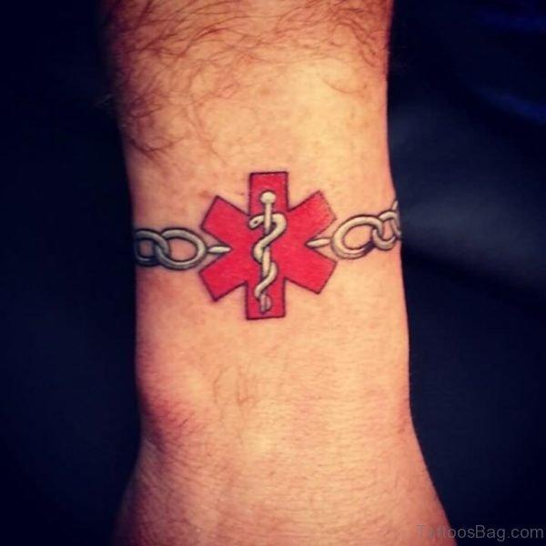 Medical Symbol Band Tattoo Design For Wrist