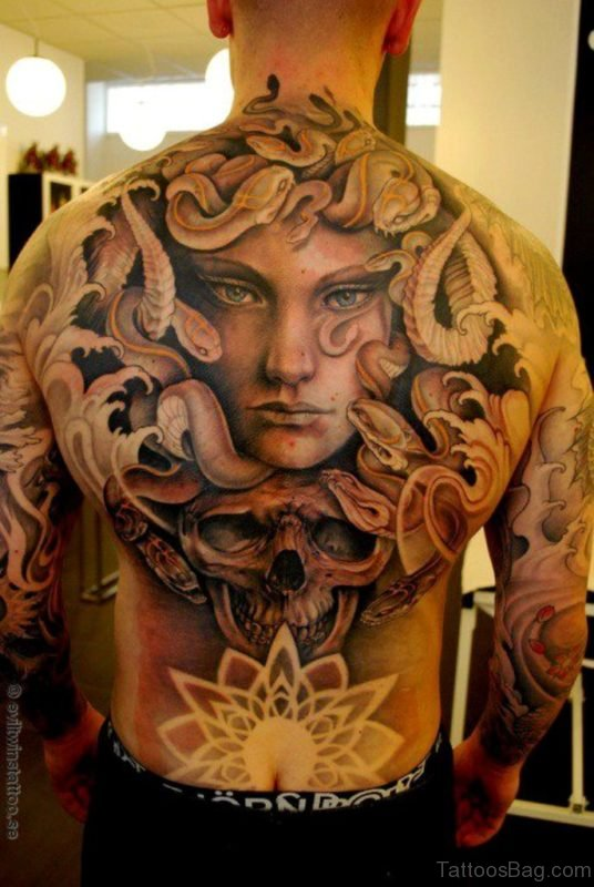 Medusa Tattoo On Back