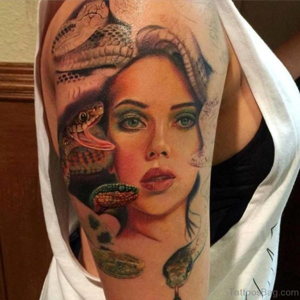 Medusa Tattoo On Half Sleeve