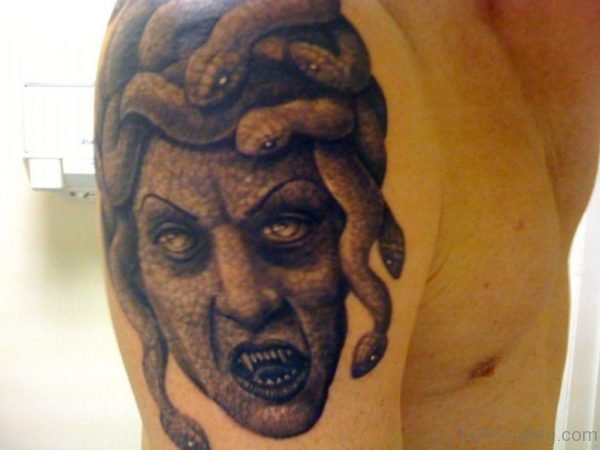 Medusa Tattoo On Shoulder For Guys