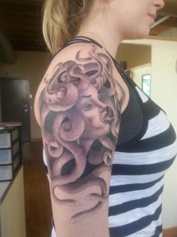 Medusa Tattoo On Shoulder For Women