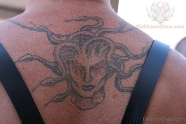 Medusa Tattoo On Upper Back