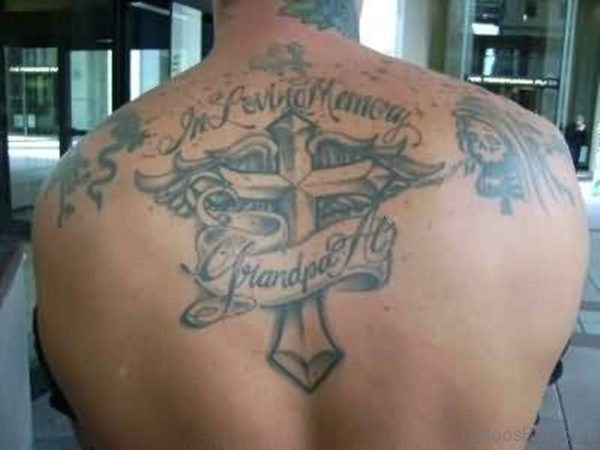 Memorable Banner And Cross Tattoo On Men  Back
