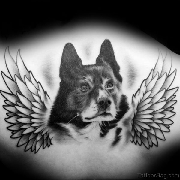 Memorial Angel Dog Tattoo