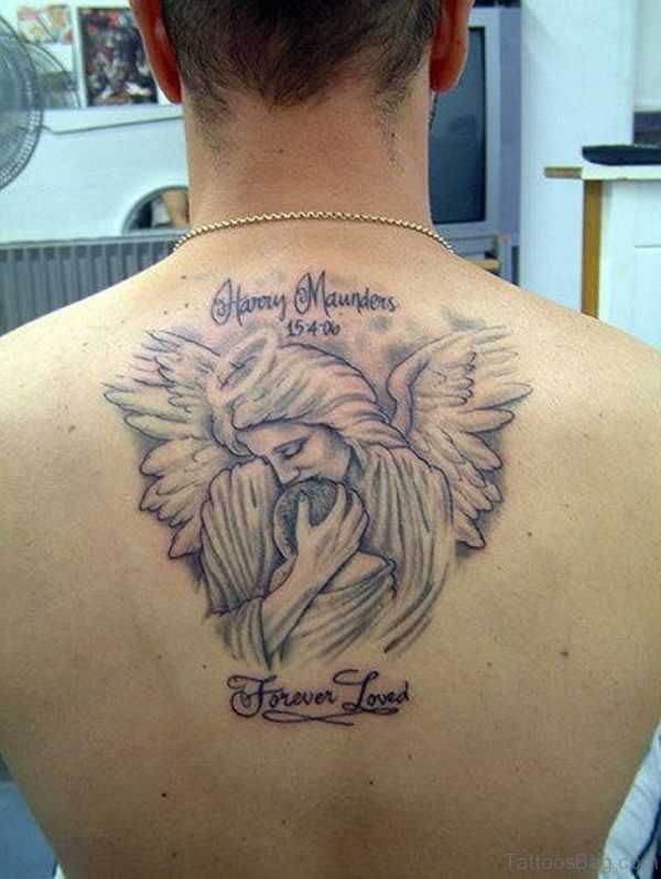 Memorial Angel Tattoo On Back