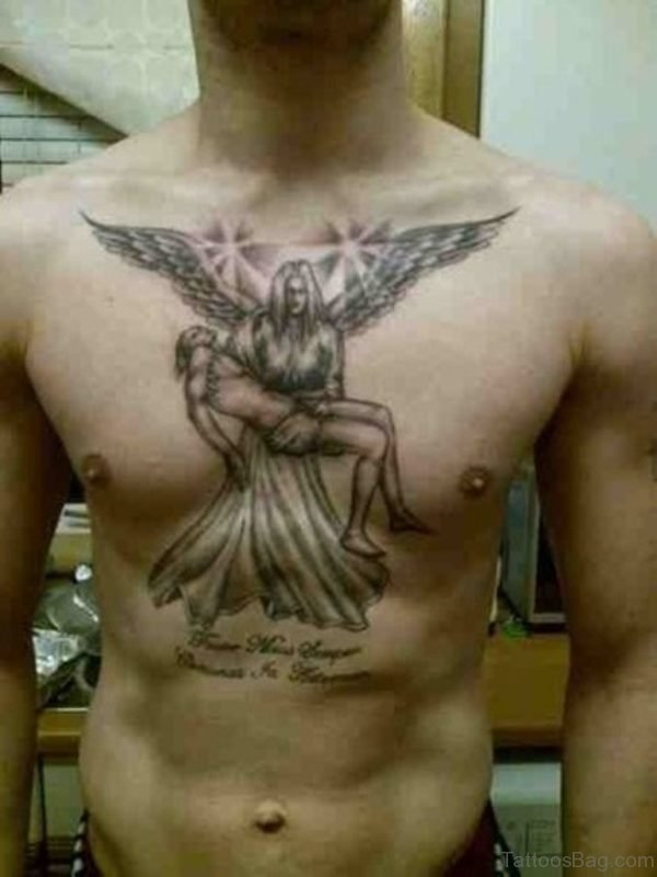 Memorial Angel Tattoo On Chest For Men