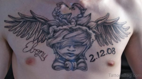 Memorial Angel Tattoo On Chest