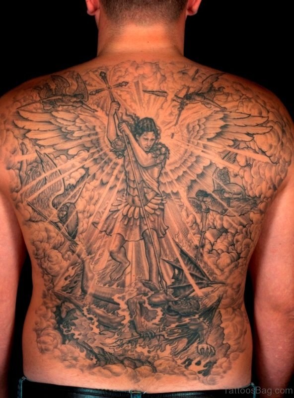 Memorial Angel Tattoo On Full Back