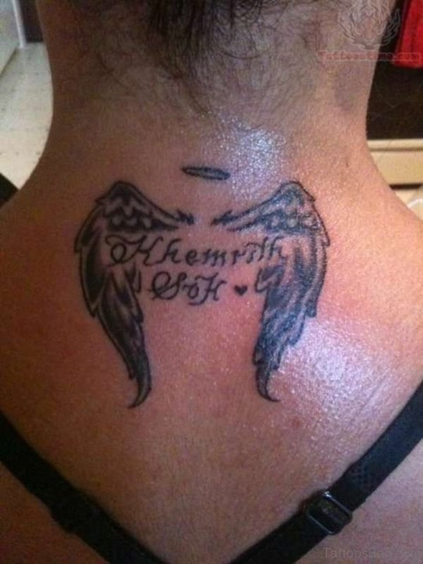 Memorial Angel Wings Tattoo Design