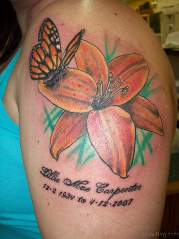 Memorial Butterfly Tattoo With Hibiscus