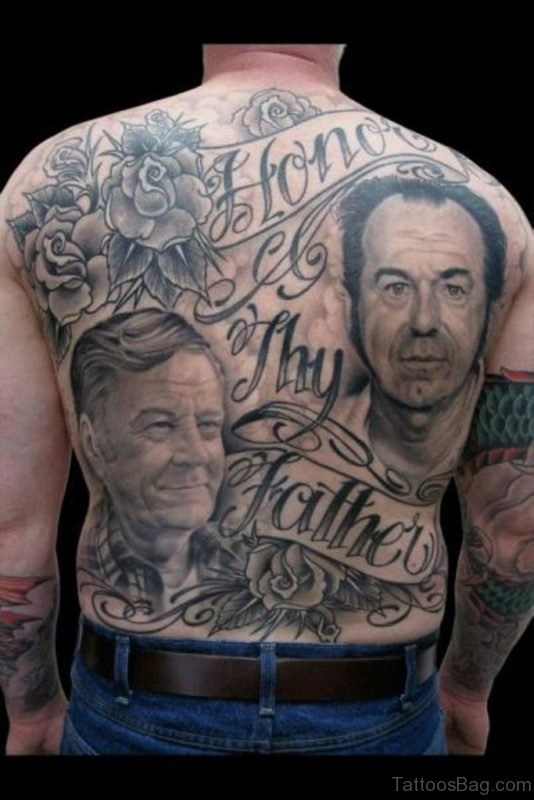 Men Face And Wording Tattoo