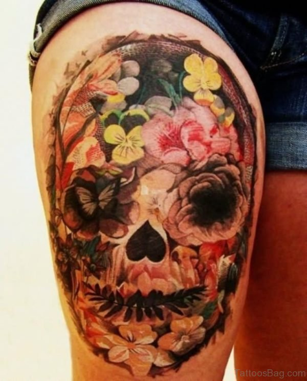Mexican Flower Skull Tattoo