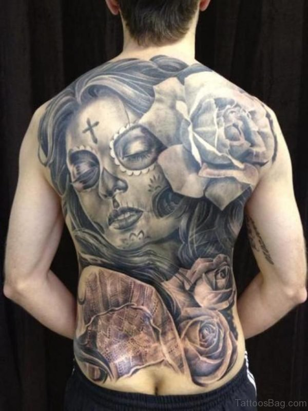 Mexican Skull Tattoo On Back