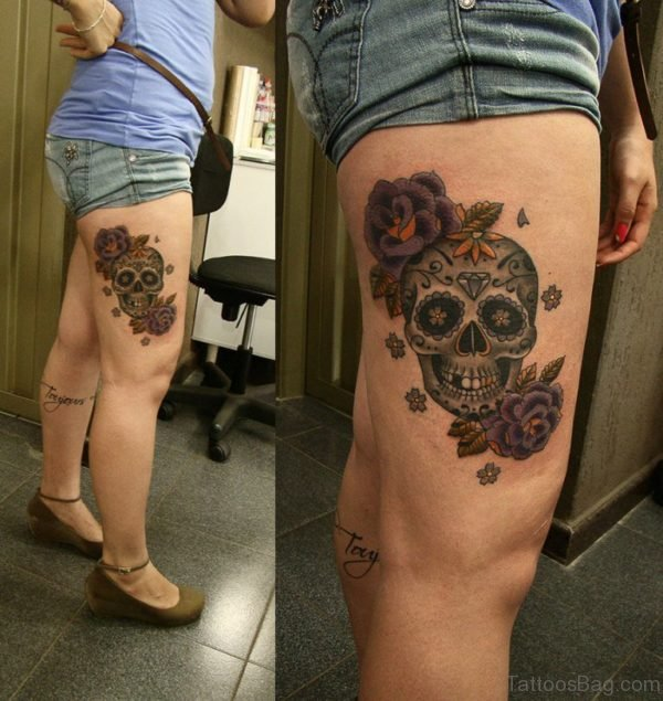 Mexican Skull Tattoo On Thigh