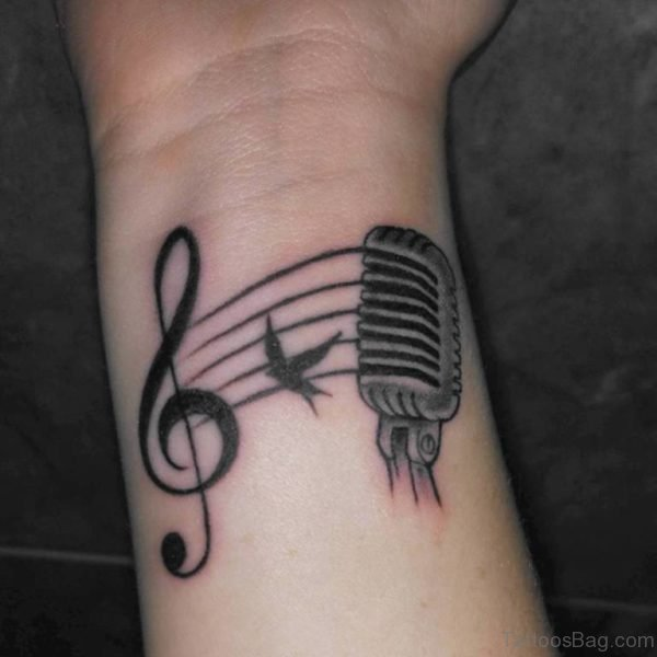 Mic And Music Tattoo
