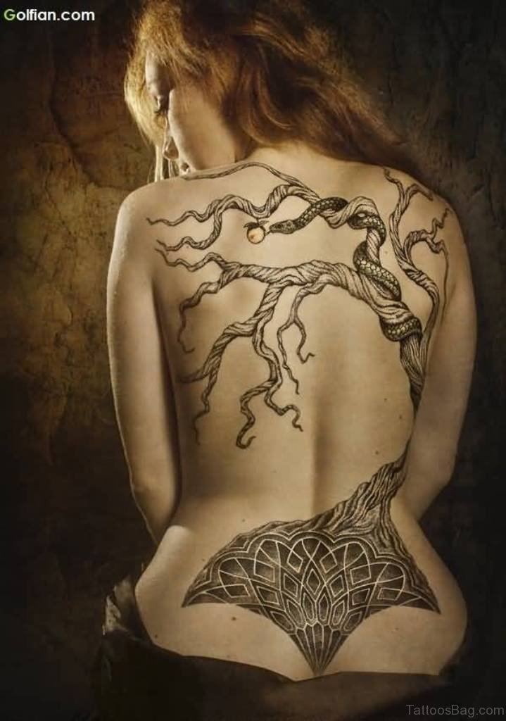Mind Blowing Apple Tree And Snake Tattoo On Back