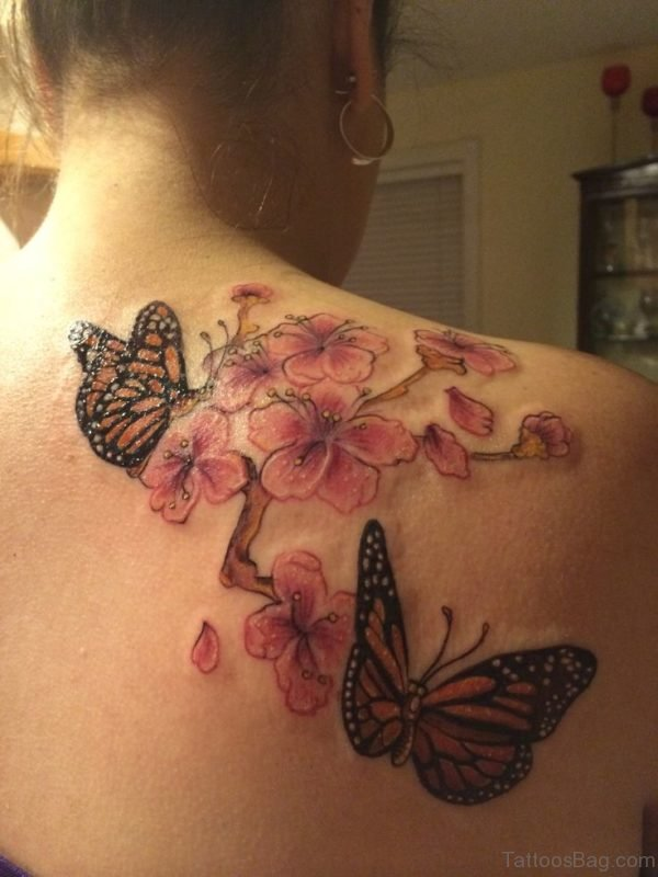 Monarch Butterfly And Cherry Blossoms Tattoo