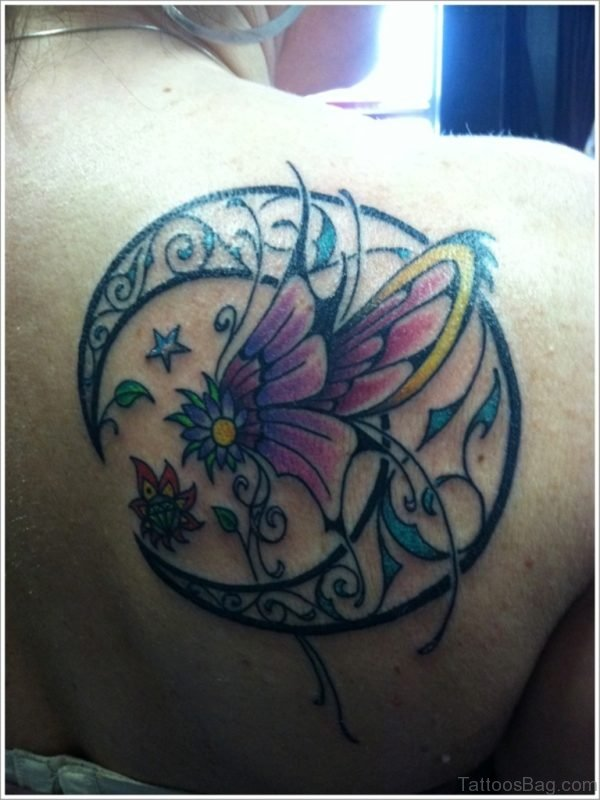 Moon And Butterfly Tattoo