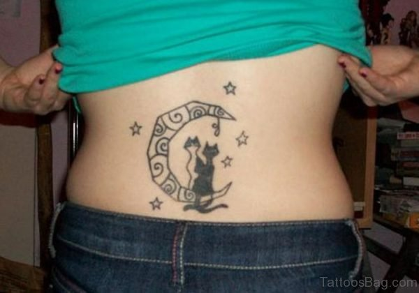 Moon And Cat Tattoo  On Lower Back