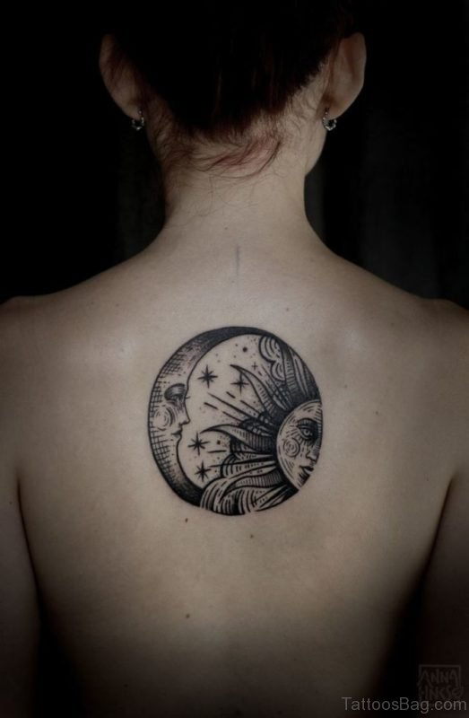 Moon And Sun Tattoo On Back