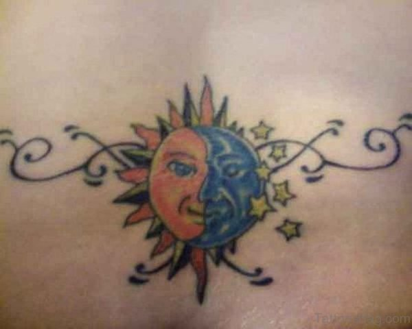 Moon And  Sun Tattoo On Lower Back
