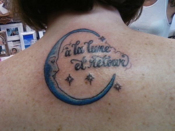 Moon And Wording Tattoo
