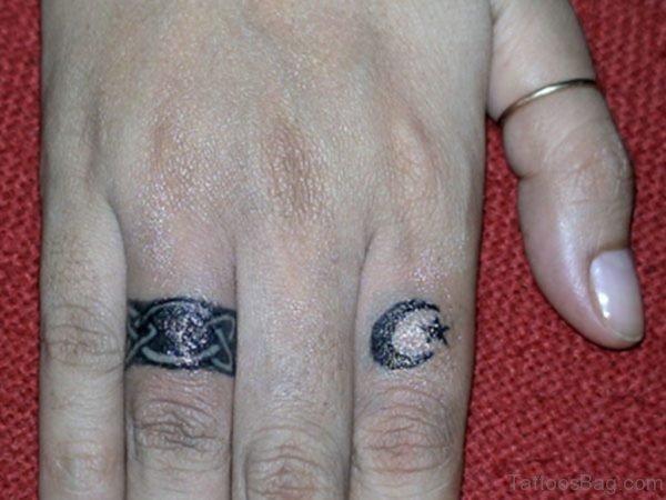 Moon Tattoo Design On Finger