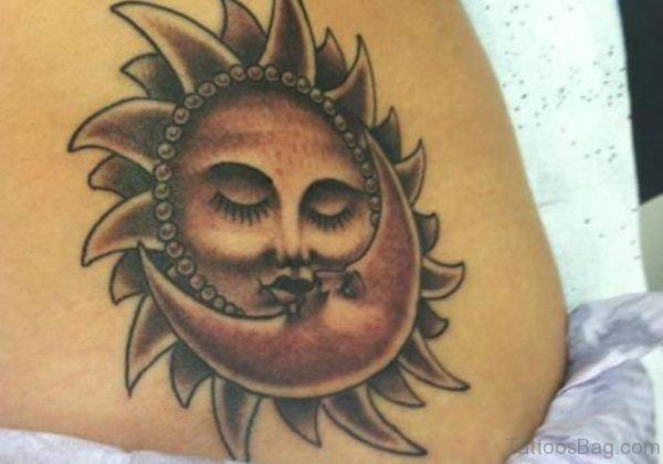 Moon With Sun Tattoo