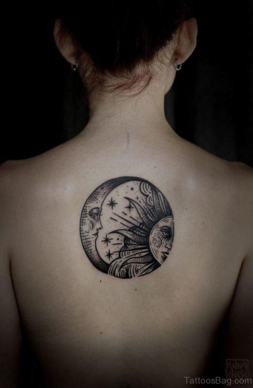 Moon And Sun Tattoo On Back-