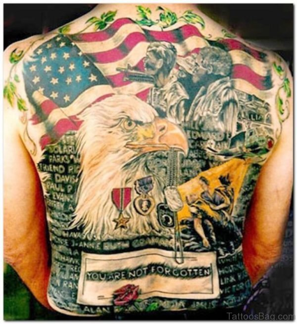 Awesome Patriotic Back Tattoo