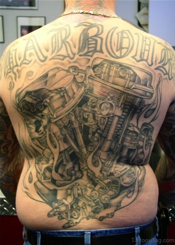 Motor And Wording Tattoo